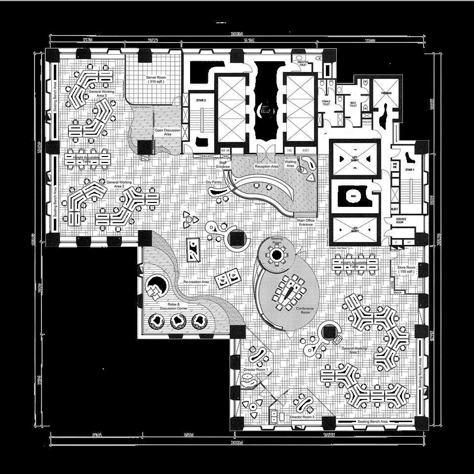 Singapore office interior design at aig building for Office interior design layout plan