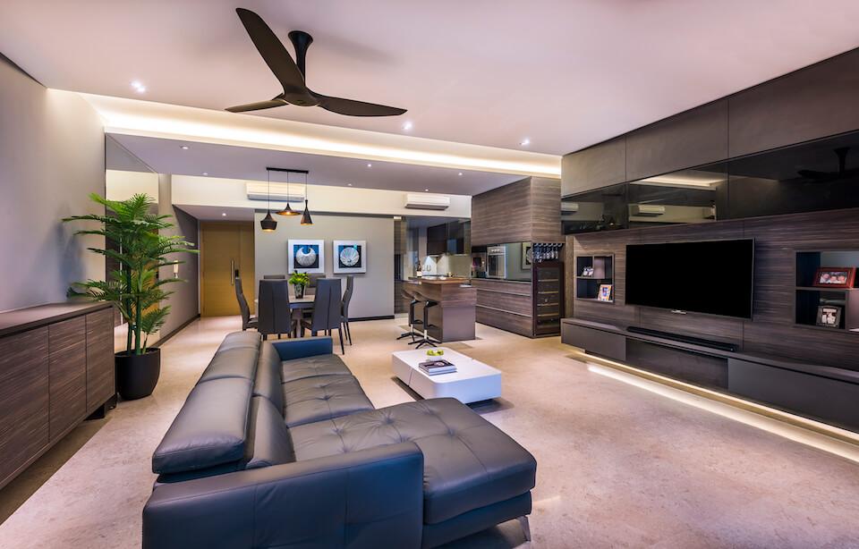 Singapore condominium interior design at the grand duchess for The living room 002