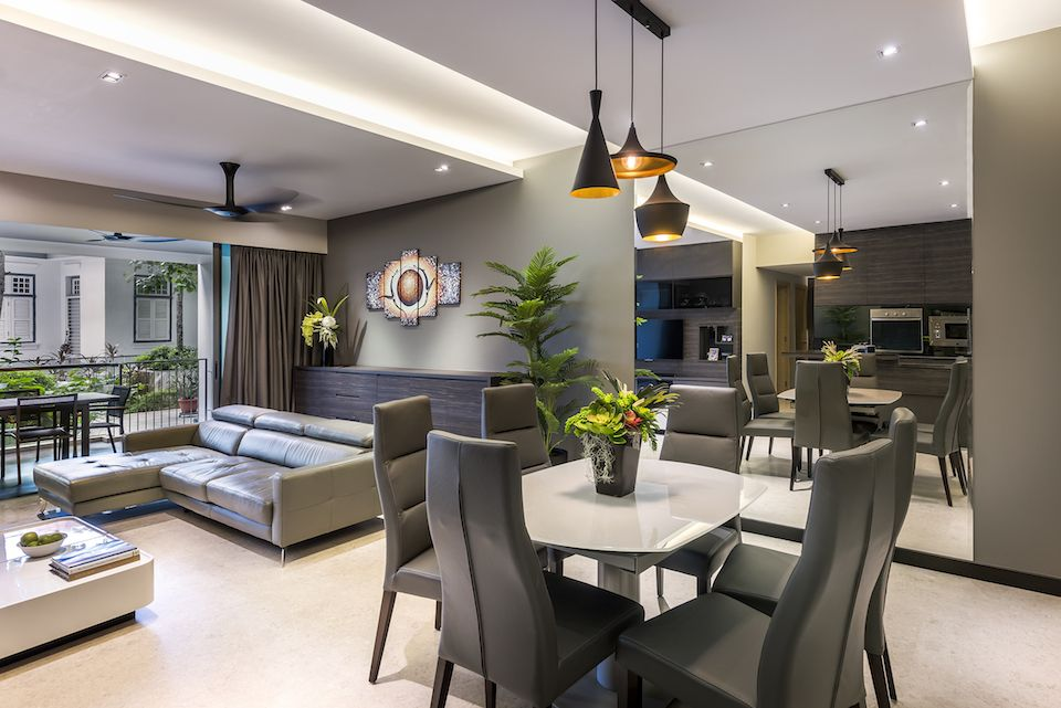 Singapore condominium interior design at the grand duchess for Residential living room interior design