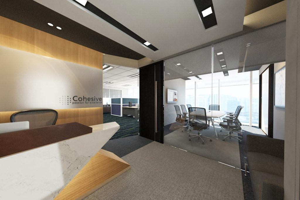 Interior design for cohesive shipping at raffles place in for Office interior layout design guide