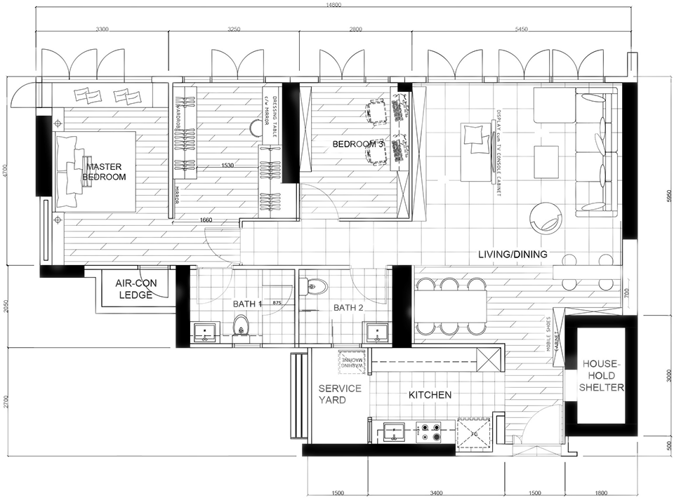 residential interior design bukit batok skyline layout plan