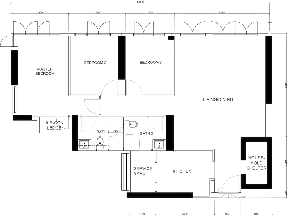skyline residential interior design original layout plan