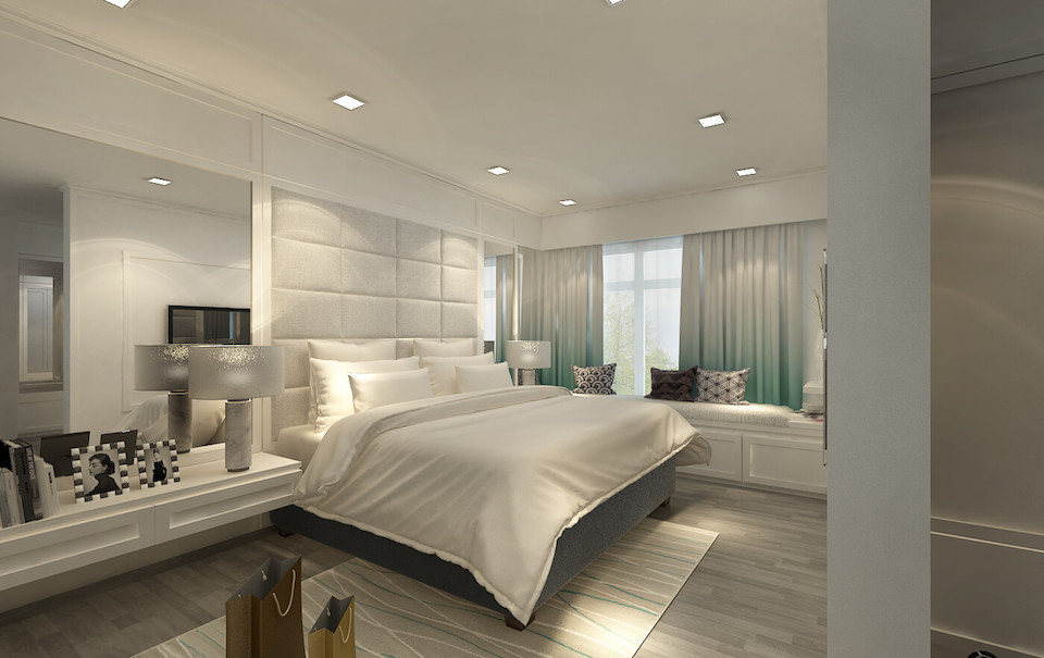 residential interior design skyline II master bedroom