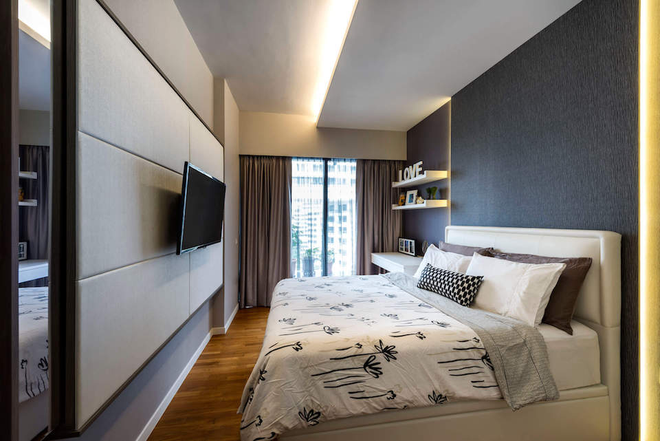 Interior design for the interlace in bukit merah by home guide design - Delicate apartment interior design with pale hues and movable walls ...