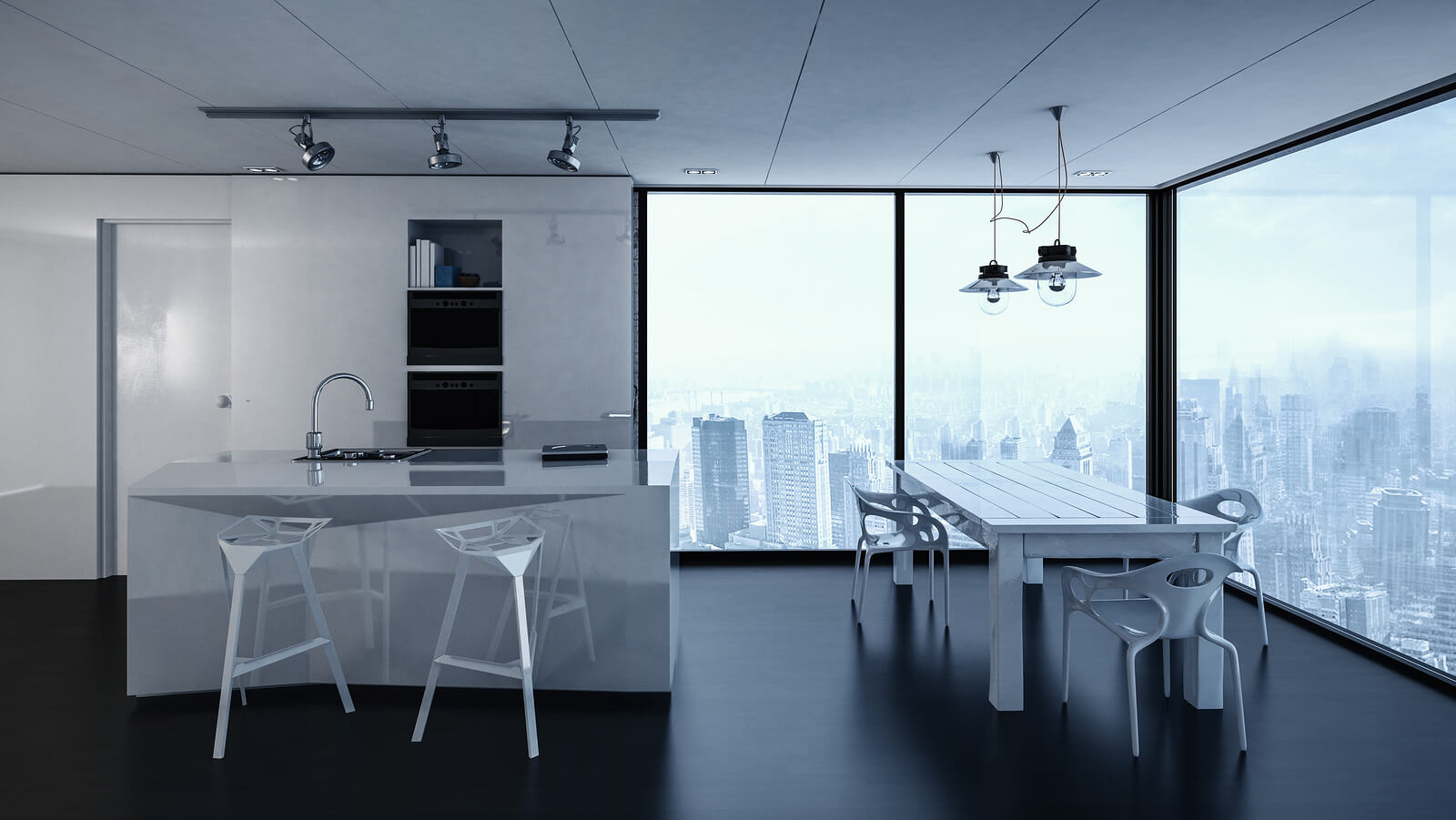 kitchen interior design tracking lights