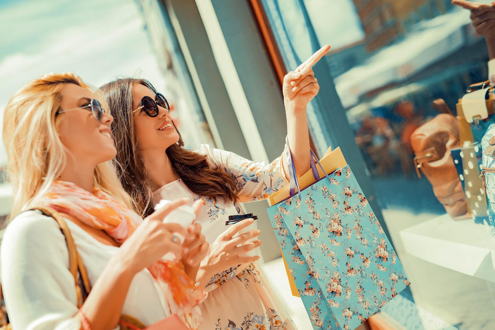 girls shopping at retail store