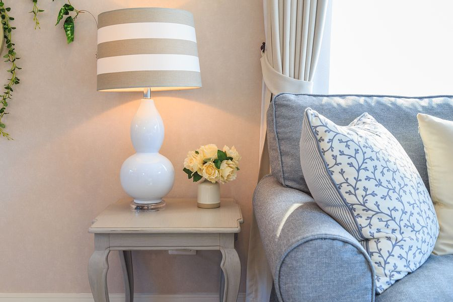 Home Interior Design Tip - Using a side table to accompany the sofa